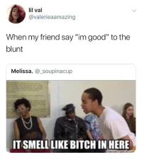 "Smell, Weed, and Good: lil val  @valerieaamazing  hen my friend say ""im good"" to the  blunt  Melissa. @_soupinacup  IT SMELL LIKE BITCHIN HERE  memecruncco TAG a little b*tch 🤣"