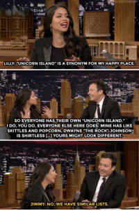 """<p><a href=""""https://www.youtube.com/watch?v=dGvyYWRvzjk&amp;index=1&amp;list=UU8-Th83bH_thdKZDJCrn88g"""" target=""""_blank"""">Jimmy and Lilly Singh compare their &ldquo;happy places&rdquo;!</a></p>: LILLY: UNICORN ISLAND"""" IS A SYNONYM FOR MY HAPPY PLACE.  SO EVERYONE HAS THEIR OWN """"UNICORN ISLAND.""""  DO, YOU DO, EVERYONE ELSE HERE DOES: MINE HAS LIKE  SKITTLES AND POPCORN,DWAYNE """"THE ROCK JOHNSON  IS SHIRTLESS ...] YOURS MIGHT LOOK DIFFERENT  JIMMY: NO, WE HAVE SIMILAR LISTS <p><a href=""""https://www.youtube.com/watch?v=dGvyYWRvzjk&amp;index=1&amp;list=UU8-Th83bH_thdKZDJCrn88g"""" target=""""_blank"""">Jimmy and Lilly Singh compare their &ldquo;happy places&rdquo;!</a></p>"""