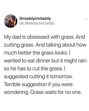 Dad, Rain, and Tomorrow: lilmaddyimdaddy  @LilMaddylmDaddy  My dad is obsessed with grass. And  cutting grass. And talking about how  much better the grass looks.I  wanted to eat dinner but it might rain  so he has to cut the grass. I  suggested cutting it tomorrow.  Terrible suggestion if you were  wondering. Grass waits for no one. Ope.