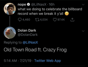 My boy frog gonna go CRAZY on that track: @LilNasX 16h  nope  what we doing to celebrate the billboard  record when we break it y'all  4,460  t14,034  97.4K  Dolan Dark  @DolanDark  Replying to @LiINasX  Old Town Road ft. Crazy Frog  5:14 AM 7/21/19 Twitter Web App My boy frog gonna go CRAZY on that track