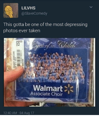 bruh the fact that someone would buy this makes me more depressed: LILVHS  @slaveComedy  This gotta be one of the most depressing  photos ever taken  Walmart <  Associate Choir  12:40 AM 04 Aug 17 bruh the fact that someone would buy this makes me more depressed