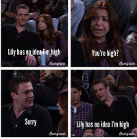 Memes, Sorry, and Your Highness: Lily has no idea m high  Quengnam  Sorry  You're high?  Lily has no idea lm high  Quengndm One of my favorite moments on HIMYM 😂