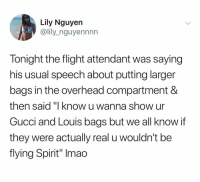 """@lily_nguyennnn: Lily Nguyen  @lily_nguyennnn  Tonight the flight attendant was saying  his usual speech about putting larger  bags in the overhead compartment &  then said """"I know u wan  Gucci and Louis bags but we all know if  they were actually real u wouldn't be  flying Spirit"""" Imao  na show ur @lily_nguyennnn"""