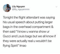 """nguyen: Lily Nguyen  @lily_nguyennnn  Tonight the flight attendant was saying  his usual speech about putting larger  bags in the overhead compartment &  then said """"I know u wanna show ur  Gucci and Louis bags but we all know if  they were actually real u wouldn't be  flying Spirit"""" Imao"""