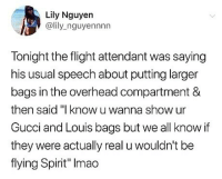 "Gucci, Memes, and Savage: Lily Nguyen  @lily_nguyennnn  Tonight the flight attendant was saying  his usual speech about putting larger  bags in the overhead compartment &  then said ""I know u wanna show ur  Gucci and Louis bags but we all know if  they were actually real u wouldn't be  flying Spirit"" Imao Spirit is savage 😂😂😂"