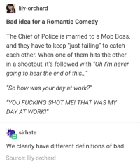 "good idea for a romantic comedy: lily-orchard  Bad idea for a Romantic Comedy  The Chief of Police is married to a Mob Boss,  and they have to keep ""just failing"" to catch  each other. When one of them hits the other  in a shootout, it's followed with ""Oh I'm never  going to hear the end of this...""  So how was your day at work?""  ""YOU FUCKING SHOT ME! THAT WAS MY  DAY AT WORK!""  sirhate  We clearly have different definitions of bad  Source: lily-orchard good idea for a romantic comedy"