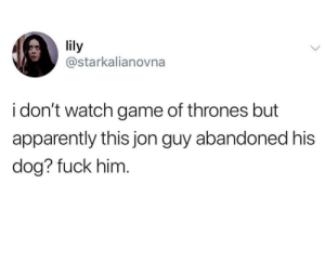 Apparently, Game of Thrones, and Fuck: lily  @starkalianovna  i don't watch game of thrones but  apparently this jon guy abandoned his  dog? fuck him Damn you, Jon