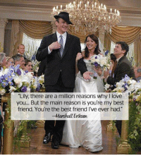 "Memes, 🤖, and Himym: ""Lily, there are a million reasons why I love  you... But the main reason is you're my best  friend. You're the best friend I've ever had.""  Marshall Eriksen SappySunday: RT if you love Marshall and Lily. HIMYM"