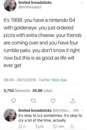 Was gaming in the 90s best?: limited breadsticks  @limitlessjest  it's 1998. you have a nintendo 64  with goldeneye. you just ordered  pizza with extra cheese. your friends  are coming over and you have four  rumble paks. you don't know it right  now but this is as good as life will  ever get  06:00 · 28/12/2019 · Twitter Web App  5,750 Retweets 35.9K Likes  limited breadsticks @limitles... · 14h v  it's okay to cry sometimes. it's okay to  cry a lot of the time, actually  O11  2766  1,481 Was gaming in the 90s best?