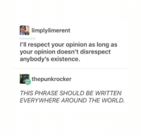 Respect, Live, and World: limplylimerent  I'll respect your opinion as long as  your opinion doesn't disrespect  anybody's existence.  thepunkrocker  THIS PHRASE SHOULD BE WRITTEN  EVERYWHERE AROUND THE WORLD. This is something we should all live by
