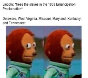 """History, Kentucky, and Lincoln: Lincoln: """"frees the slaves in the 1863 Emancipation  Proclamation  Delaware, West Virginia, MIssouri, Maryland, Kentucky,  and Tennessee: Not till 1865 my dudes"""