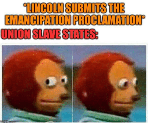History, Lincoln, and Com: LINCOLN SUBMITS THE  EMANCIPATION PROCLAMATION  UNION SLAVE STATES:  mgflip.com You weren't suppose to do that!