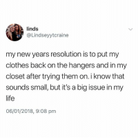 Clothes, Life, and British: linds  @Lindseyytcraine  my new years resolution is to put my  clothes back on the hangers and in my  closet after trying them on. i know that  sounds small, but it's a big issue in my  life  06/01/2018, 9:08 pm @thehumourfeed is spot on with this one😂 FOLLOW @thehumourfeed @thehumourfeed