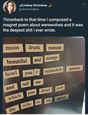 Throwback Poem: Lindsey Shmindsey  @shminsington  Throwback to that time I composed a  magnet poem about werewolves and it was  the deepest shit I ever wrote.  moon drunk monster  beautiful and strange  how you r melancholyquestion  and tell me  which you dread  more  echo or the answer Throwback Poem