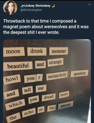 Beautiful, Drunk, and Monster: Lindsey Shmindsey  @shminsington  Throwback to that time l composed a  magnet poem about werewolves and it was  the deepest shit I ever wrote.  moon drunk  beautiful and strange  howl you r melancholy question  monster  and tell me  whichyoread more  echo ortheanswer But what was the question?