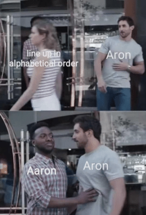 me_irl by rissxox MORE MEMES: line up in  alphabetical order  Aron  Aron  Aaron me_irl by rissxox MORE MEMES