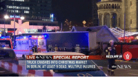 Memes, Worldstarhiphop, and Abc News: LINER  LIVE  NEWS SPECIAL REPORT  TRUCK CRASHES INTO CHRISTMAS MARKET  IN BERLIN, AT LEAST 9 DEAD, MULTIPLE INJURIES  WATCH NOW ON  abc NEWS 12 Dead & At Least 50 Injured After A Truck Plows Into Crowded Christmas Market In Berlin! 😳🙏 Watch Now On WorldStarHipHop.com & The WorldStar App! (Posted by @PersistWSHH) WSHH