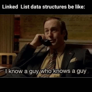 while (guy) guy = guy.knownGuy;: Linked List data structures be like:  1HORTS  SIHIOHUAUUAS  I know a guy who knows a guy while (guy) guy = guy.knownGuy;