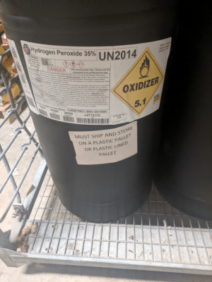 Advice, Children, and Detroit: LINRO14 Hydrge  peroide apueus  soltons 518  EHydrogen Peroxide 35% IN2014  poowo  Chemicals Inc  MOPVS  SDS  PAGE  10000 Harper Ave.  Detroit MI 48213  1800) 284-9736  3029  Recommended Use: Reserved for  industrial and professional use.  DANGER  rtatements Causes serious eye damage. Causes severe skin burns and eye damage. May cause  ion Prevention Wear eye/face protection. Wear protective gloves/protective clothing/eye protection/face  s.piratory imitalion May cause drowsiness or dizziness Physical hazards Oidizer. May cause or intensify fire:  rowion Auoid beathing dustume/gas/mist/vapors/spray, Use only outdoors or in a well-ventilated area. Wash  aceads and anyaxposed skin thoroughly after handling  mr  est aid meursEye contact immediate medical attention is required Hold eyes open and rinse slowly and  entywih wasast 16-20 minutes Remove contact lenses if present, after the first 5 minutes, then continue  ngeyes Cal a Poison Control Center or doctor for treatment advice. Do not rub affected area. Skin Contact  ae off contarninated ciothing Rinse skin immediately with plenty of water for 15-20 minutes. Call a Poison  Cnrol Center Or doctor for treatment advce. Wash contaminated clothing before reuse. -Inhalation Call a  OXIDIZER  an o piGn.control center immediately IF INHALED Remove victim to fresh air and keep at rest in a  oncortable fr breathing If breathing is irregular or stopped administer artificial respiration. Administer  JT13 17C  erething is aifficut Ingestion Calla physician or poison control center immediately. Do NOT induce  0Gongitions .eep containers ightly closed in a cool well-ventilated place. Do not place unused product  Rinesouth Dnnk 1 or 2 giasses of water Never give anyhing by mouth to an unconscious person.  Traladvce Call 911 r m.argency medical service Remove and isolate contaminated clothing and shoes.  5.1  original cnainer Do nol reuse container Keep locked up and out of reach of children.  PE  scoloess.Liquid Odor: Odoriess  24 Hour Emergency Phone Number: CHEMTREC (800) 424-9300  12455  50009  Net Weight (lbs)  135  38596  PACK  L071317C  PRODUCT  LOT  Ju-13-2017  MUST SHIP AND STORE  ON A PLASTIC PALLET  OR PLASTIC LINED  PALLET Been sitting on the metal cart that they were shipped in on
