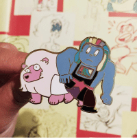 Memes, Link, and Lion: lion and bismuth pin just hit the shop! link in @lymelight.designs 's bio to purchase✨ make sure you also check out her new rose's sword pin! stevenuniverse lion bismuth rosequartz cartoonnetwork
