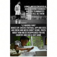 Football, Memes, and Real Madrid: LIONEL MESSI CREATED 6  GOALSCORING CHANCES  AND HIS TEAMMATES  MISSED ALL OF THEM  *LE MADRID FANS*  WAKES UP, CHECKS FOOTBALL APP AND SEES  ARG DREW AND MESSI DIDN'T SCORE, POSTS  ABOUT HOW MESSI DISAPPEARED FOR HIS  COUNTRY AND HAD A SHIT GAME  WAS SLEEPING WHOLE NIGHT  AND DIDN'T EVEN SEE MESSI PLAY* Tag a Real Madrid fan...