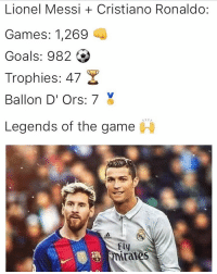 Cristiano Ronaldo, Memes, and The Game: Lionel Messi Cristiano Ronaldo  Games: 1,269  Goals: 982  Trophies: 47  Ballon D'ors: 7  Legends of the game  i  Fly  ironies 🏆🏆🏆