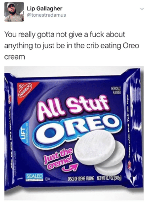 stability:the moreos guy would probably implode if he saw this: Lip Gallagher  @tonestradamus  You really gotta not give a fuck about  anything to just be in the crib eating Oreo  cream  ARRİLLY  RAVORED  All Stuf  OREO  Just the  SEALED stability:the moreos guy would probably implode if he saw this