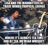 lisa: LISA AND THE MADHATTERSAT  TRADE WINDSTROPICALLOUNGE  A. WHERE ITS ALWAYS TEATIME  AND BY TEA WEMEAN WHISKEY  memes. COM