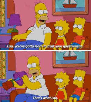 lolzandtrollz:  Homer Simpson Knows How It Works: Lisa, you've gotta learn to trust your government.  That's what Ido. lolzandtrollz:  Homer Simpson Knows How It Works