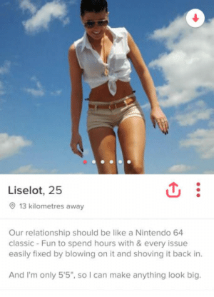 "Be Like, Nintendo, and Back: Liselot, 25  13 kilometres away  Our relationship should be like a Nintendo 64  classic - Fun to spend hours with & every issue  easily fixed by blowing on it and shoving it back in  And I'm only 5'5"", so I can make anything look big. I think I found her!"