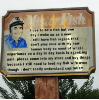 Instagram, Capitalism, and Fish: lish  i use to be a fish but one  day i woke up as a man  i still have fish organs that  don't play nice with my new  human body so most of what i  experience on a day to day basis is agonizing  pain. please come into my store and buy things  because i still need to feed my fish wife even  though i don't really understand capitalism www.instagram.com/trevorallenunofficial