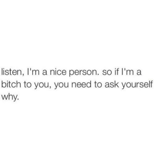 Nice Person: listen, I'm a nice person. so if I'm a  bitch to you, you need to ask yourself  why