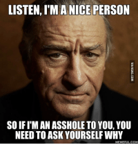 why meme: LISTEN, I'M A NICE PERSON  SOIF I'M AN ASSHOLETO YOU, YOU  NEED TO ASK YOURSELF WHY  MEMEFUL COM