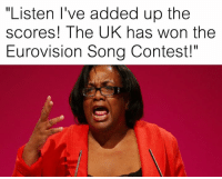 "Dank Memes, Song, and Eurovision: ""Listen I've added up the  scores! The UK has won the  Eurovision Song Contest!"" Diane knows the score"