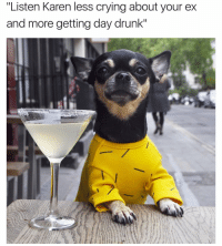 "Crying, Drunk, and Funny: ""Listen Karen less crying about your ex  and more getting day drunk"" That one coworker who can't be cool when you're having a liquid lunch😅 PupPic @dolly_pawton"