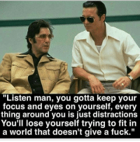 """Lose Yourself, Memes, and Focus: """"Listen man, you gotta keep your  focus and eyes on yourself, every  thing around you is just distractions  You'll lose yourself trying to fit in  a world that doesn't give a fuck."""" https://t.co/6h2K8dmyZ0"""