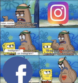 Comfortable, Dank, and Instagram: listen, normie  thinkou d be more  comfortable  over at  thatplace.  Instagram? Are  belong on Instagram?  oh no sorryTwas actually  ppointing at the place next to ut  ou saving  MOM Normies by Mr_Malvic MORE MEMES