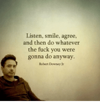 #dw: Listen, smile, agree,  and then do whatever  the fuck you were  gonna do anyway.  Robert Downey Jr #dw