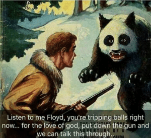 God, Love, and MeIRL: Listen to me Floyd, you're tripping balls right  now... for the love of god, put down the gun and  we can talk this through  O F A meirl