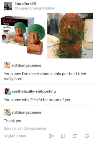 Thank You, Spirit, and Proud: literalforklift  superioronion Follow  Chis Pel  stilldoingscience  You know I've never done a chia pet but I tried  really harod  aesthetically-shitposting  You know what? He'd be proud of you  stilldoingscience  Thank you  Source: stilldoingscience  37,847 notes OPs chia is a better representation if his spirit anyways.