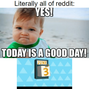 Reddit, Good, and Today: Literally all of reddit:  YES!  TODAY IS A GOOD DAY!  JUNE  3 Today is the day!