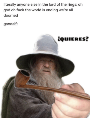 Gandalf, God, and The Lord of the Rings: literally anyone else in the lord of the rings: oh  god oh fuck the world is ending we're all  doomed  gandalf:  quIERES? ¿Quieres?