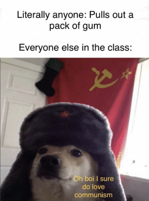 Love, Communism, and Boi: Literally anyone: Pulls out a  pack of gum  Everyone else in the class.  Oh boi I sure  do love  communism Gotta love communism