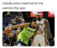 Memes, Minnesota, and Warriors: Literally every matchup for the  warriors this year  @NBAMEMES  ORLEANS  MINNESOTA Every team vs. the Warriors. https://t.co/w4lkBMVzzA