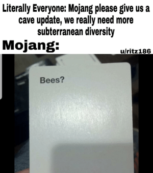 Meme, Dank Memes, and Diversity: Literally Everyone: Mojang please give us a  cave update, we really need more  subterranean diversity  Mojang:  u/ritz186  Bees? I'll let the European Meme Union decide my fate
