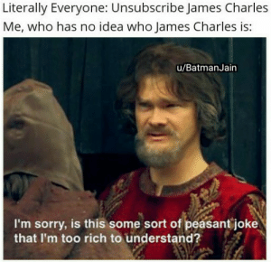 Sorry, Fuck, and Dank Memes: Literally Everyone: Unsubscribe James Charles  Me, who has no idea who James Charles is:  u/BatmanJain  I'm sorry, is this some sort of peasant joke  that I'm too rich to understand? Who the fuck is he?