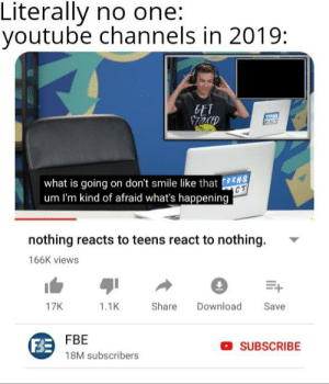 To those guys who says pewds run out pf content: Literally no one:  youtube channels in 2019:  what is going on don't smile like that EENS  um I'm kind of afraid what's happening  nothing reacts to teens react to nothing.  166K views  17K  1.1K  Share Download Save  F3E  FBE  18M subscribers  SUBSCRIBE To those guys who says pewds run out pf content