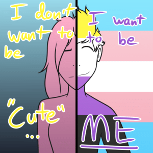 Literally on the edge to give myself a buzzcut right now, only haven't because my probably-transphobic parents (I'm closeted) are terrifying and I don't like confronting them (last time I did they exploded on me). Art by me.: Literally on the edge to give myself a buzzcut right now, only haven't because my probably-transphobic parents (I'm closeted) are terrifying and I don't like confronting them (last time I did they exploded on me). Art by me.