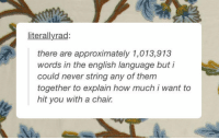 Tumblr, Blog, and Http: literallyrad:  there are approximately 1,013,913  words in the english language but i  could never string any of them  together to explain how much i want to  hit you with a chair. srsfunny:There Are So Many Words
