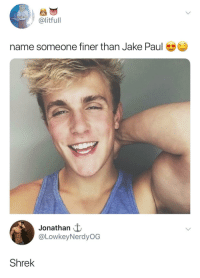 Shrek, Jake Paul, and Paul: @litfull  name someone finer than Jake Paul  Jonathan t  @LowkeyNerdyOG  Shrek He isn't wrong, that's for sure